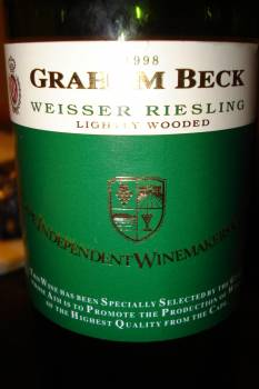 Graham Beck CIWG Lightly Wooded Weisser Riesling 1998
