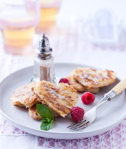 Heart-shaped French toast with cinnamon sugar