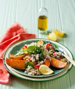 Roasted honey butternut, onion and red pepper quinoa salad