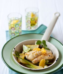 Grilled kingklip with braised fennel and orange