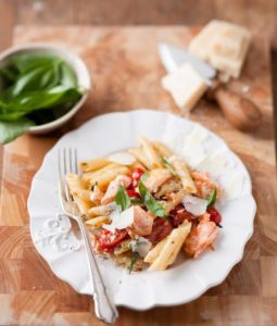 Salmon and basil pasta