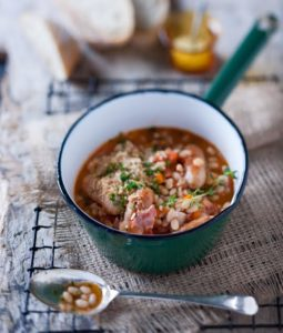 Pork sausage and haricot bean cassoulet