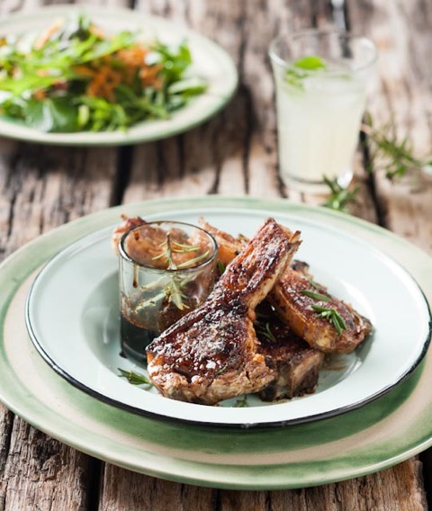 Grilled lamb rib chops with balsamic and honey glaze