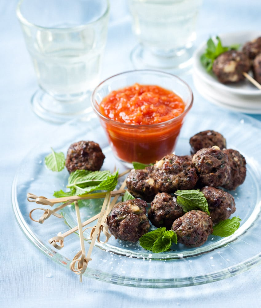 Lamb, feta and olive meatballs