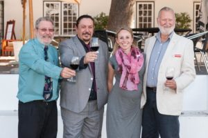 Martin Gomez and Yvonne le Riche Flanked by the very first Cape Wine Masters of 1984, Bennie Howard and Duimpie Bayly.