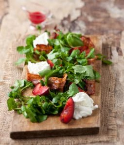 Recipe: Plum, pancetta and watercress salad, Recipe: Plum, pancetta and watercress salad