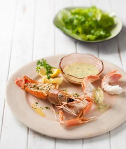 Langoustines with garlic butter and herbed aioli