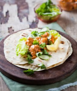 Tandoori chicken and cucumber wraps