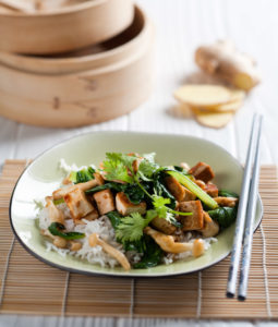 Tofu Shimenji mushroom stir fry