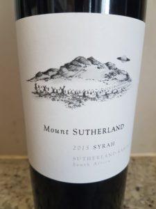 Mount Sutherland Syrah 2015