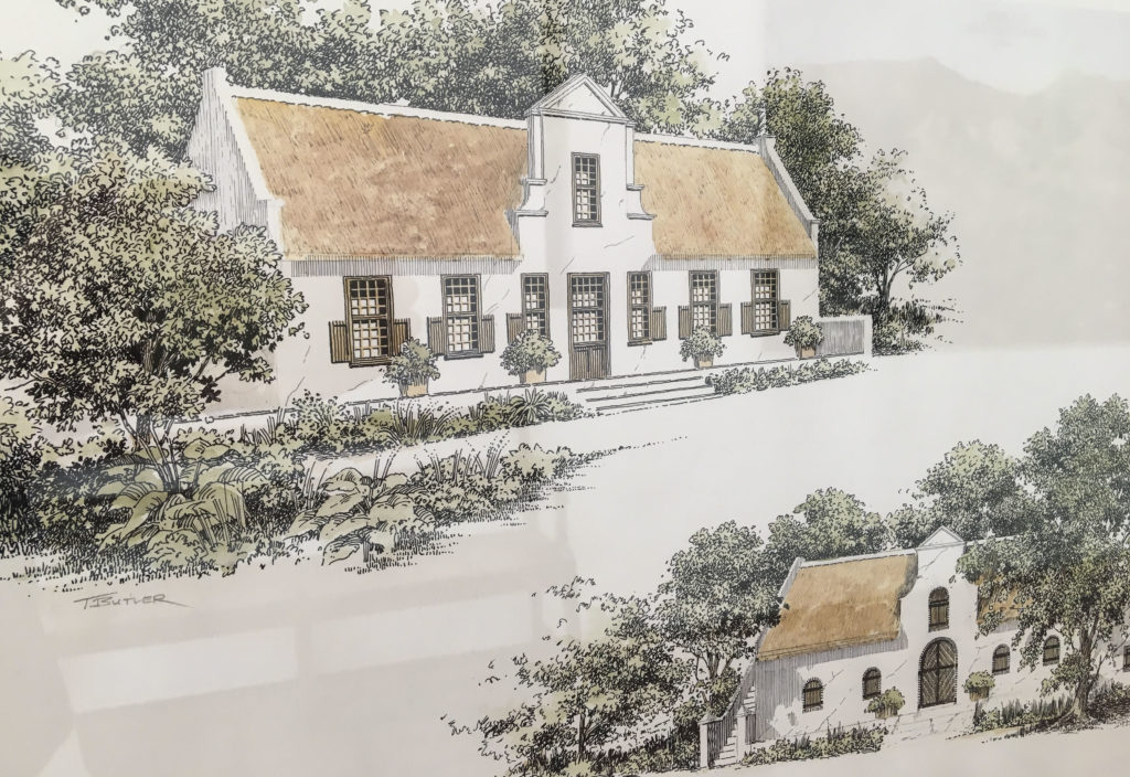 Artists sketch of the Klein Constantia Manor House.