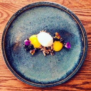 Blueberries, yuzu curd, coconut ice cream