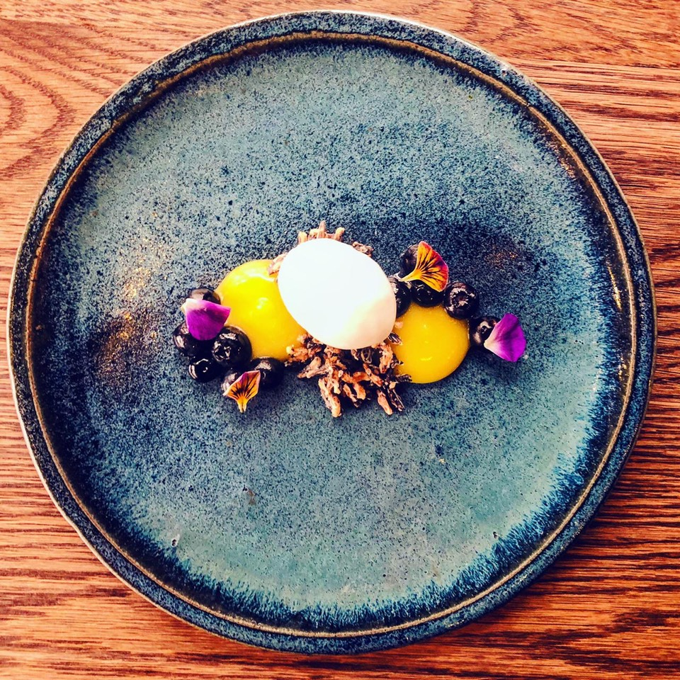 Blueberries, yuzu curd, coconut ice cream