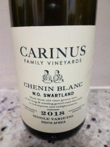 Carinus Family Vineyards Chenin Blanc 2018