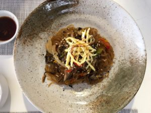 Mushroom and glass noodle japche