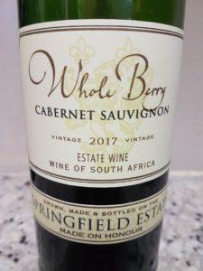 Springfield Whole Berry Cabinet Sauvignon 2017