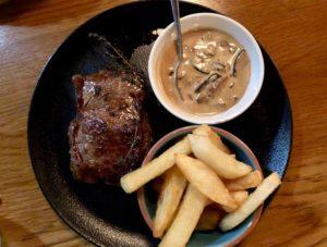 Pan fried steak.